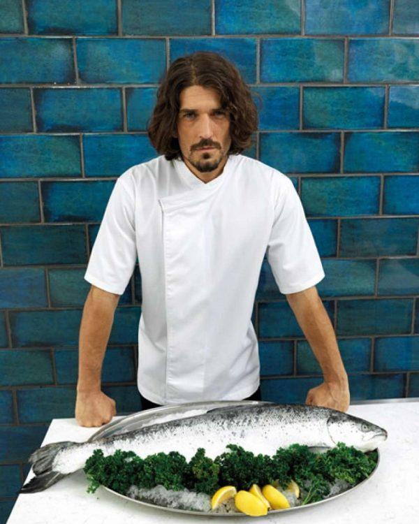 tunica bucatar culinary unisex alba cu maneca scurta
